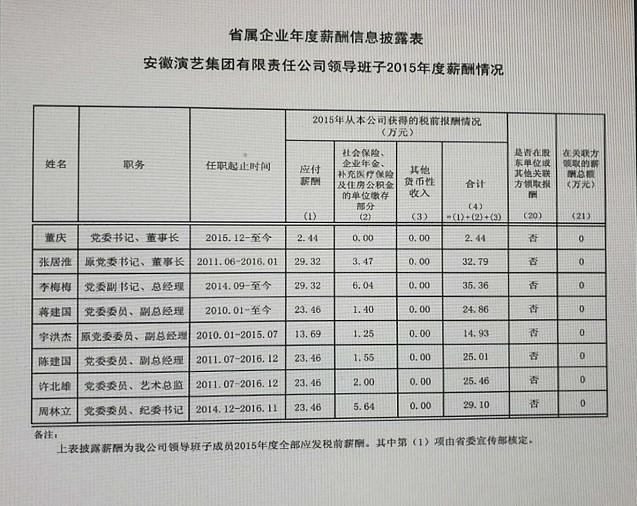 安徽演艺集团有限责任公司领导班子成员2015—2017年度薪酬发放情况